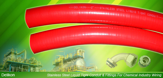 Stainless Steel Liquid Tight Conduit and Stainless Steel Fittings For Chemical Industry Wiring