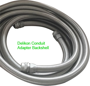 Delikon Heavy Series Over Braided Flexible Conduit with Military Circular Connector Backshells, Delikon Conduit adapter Backshells are also commonly used to protect Computer Numerical Control CNC machines, milling machines, lathes, and grinders cables