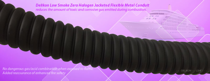 Delikon Low Smoke Halogen Free Jacketed Flexible Metal Conduit reduces the amount of toxic and corrosive gas emitted during combustion. The jacketing of this zero halogen flexible conduit is composed of thermoplastic compounds that emit limited smoke and no halogen when exposed to high sources of heat. LSZH, LSOH, LS0H, LSFH, OHLS flexible conduit is typically used in poorly ventilated areas such as aircraft, rail cars or ships. It is also used extensively in the railroad industry, where the protection of people and equipment from toxic and corrosive gas is critical like in the railway industry and shipbuilding industry.