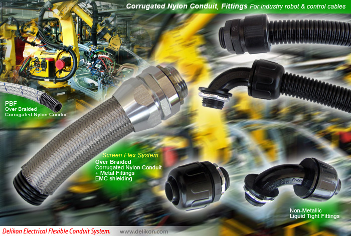 Corrugated Nylon Conduit, Fittings For industry robot & control cables