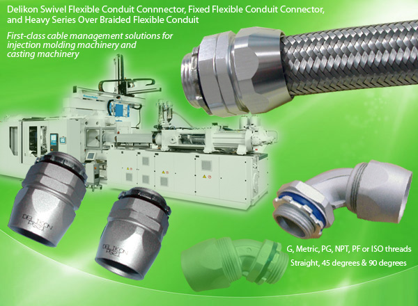 Delikon Swivel Flexible Conduit Connnector,Fixed Conduit Connector, and Heavy Series Over Braided Flexible Conduit for Injection Molding Machinery, Casting Machine cable management