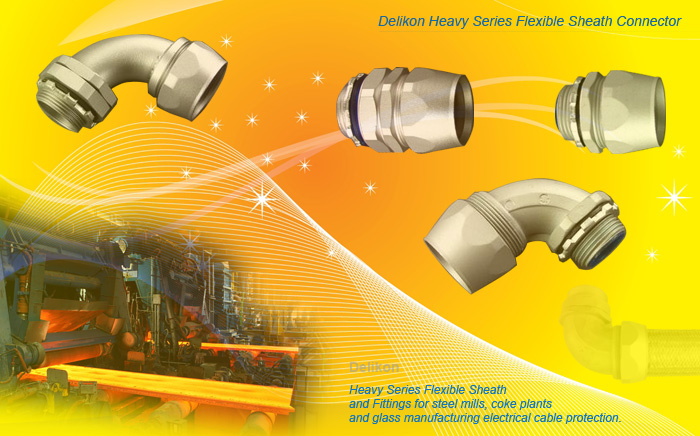 Heavy Series Flexible Sheath and Heavy Series Flexible Conduit Connectors protect electrical and automation cables from the harsh environments