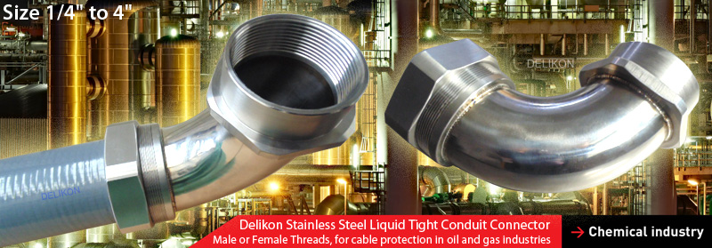 DELIKON stainless steel liquid tight conduit and stainless steel liquid tight conduit connector are relied upon by leading petrochemical organisations for protection of their electrical and data cables in Corrosion Environments.